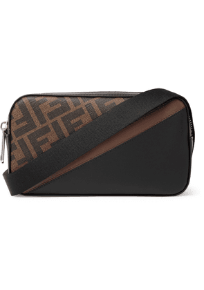 Fendi - Mini Logo-print Coated-canvas And Leather Messenger Bag - Brown