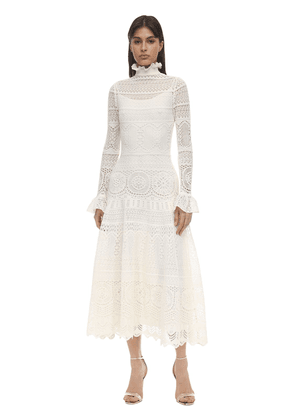 Long Lace Macramé Dress W/ruffles