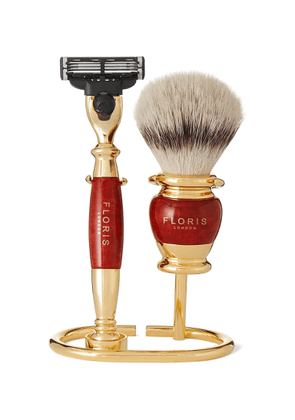 Floris London - Three-Piece Gold-Plated and Briarwood Shaving Set - Men - Gold