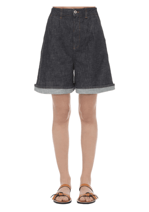 High Waisted Cotton Denim Wide Shorts
