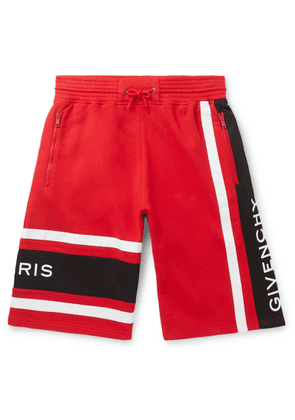 Givenchy - Logo-Embroidered Loopback Cotton-Jersey Drawstring Shorts - Men - Red