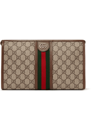 Gucci - Ophidia Leather And Webbing-trimmed Logo-jacquard Coated-canvas Wash Bag - Brown