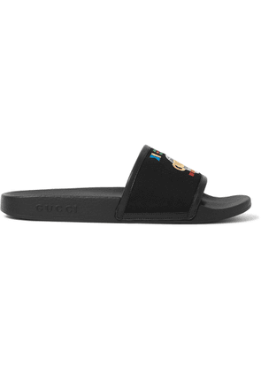 Gucci - Pursuit Logo-embroidered Canvas And Rubber Slides - Black