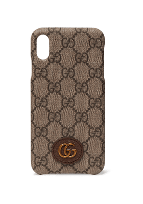 GUCCI - Ophidia Leather-Trimmed Monogrammed Coated-Canvas iPhone X and XS Case - Men - Brown