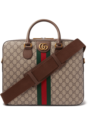 Gucci - Ophidia Leather-Trimmed Monogrammed Coated-Canvas Briefcase - Men - Brown