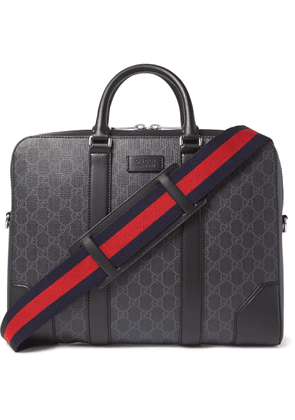 Gucci - Leather-Trimmed Monogrammed Coated-Canvas Briefcase - Men - Black