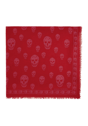 Alexander McQueen Red and Pink Orient Skull Scarf
