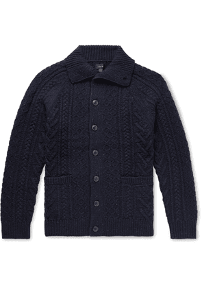 J.Crew - Cable-knit Donegal Merino Wool-blend Cardigan - Blue