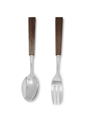 LORENZI MILANO - Stainless Steel and Wood Table Serving Set - Men - Silver