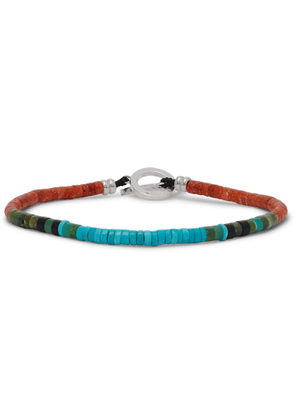 Mikia - Coral, Turquoise And Sterling Silver Beaded Bracelet - Blue
