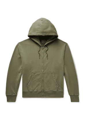J.Crew - Garment-dyed Loopback Cotton-jersey Zip-up Hoodie - Green