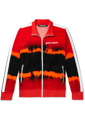 Palm Angels - Logo-print Tie-dyed Cotton-blend Velour Track Jacket - Red