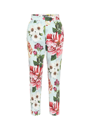Floral high-rise straight pants