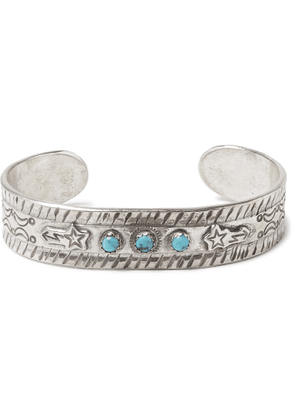 Peyote Bird - Sterling Silver Turquoise Cuff - Silver