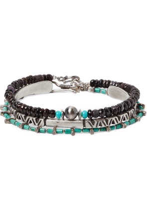 Peyote Bird - Set Of Three Sterling Silver, Turquoise And Sugilite Bracelets - Blue
