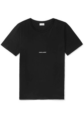SAINT LAURENT - Slim-Fit Logo-Print Cotton-Jersey T-Shirt - Men - Black