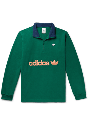 adidas Originals - Samstag Colour-block Logo-appliquéd Fleece Half-zip Sweatshirt - Green