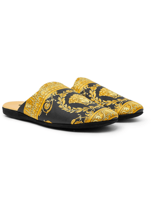Versace - Printed Cotton Slippers - Black