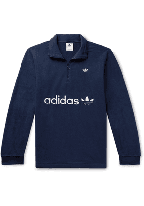 adidas Originals - Samstag Logo-appliquéd Fleece Half-zip Sweatshirt - Blue