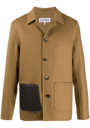 Loewe leather patch pocket button-up jacket - NEUTRALS