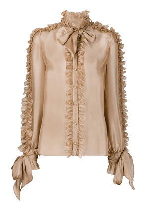 Dolce & Gabbana ruffled detail pussy-bow blouse - NEUTRALS
