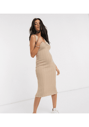 ASOS DESIGN Maternity ruched front knitted midi dress-Stone