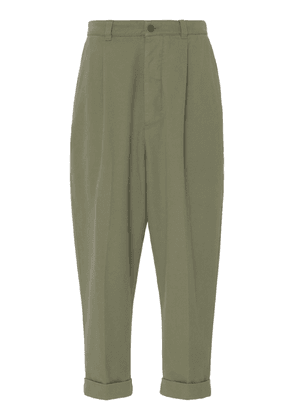 AMI Oversized Cropped Cotton-Blend Pants