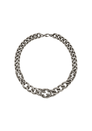 Gucci logo clasp chain link bracelet - SILVER