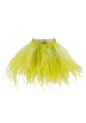 The Attico feather-embellished anklets - Yellow