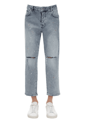 118 Destroyed Paint Cotton Blend Jeans