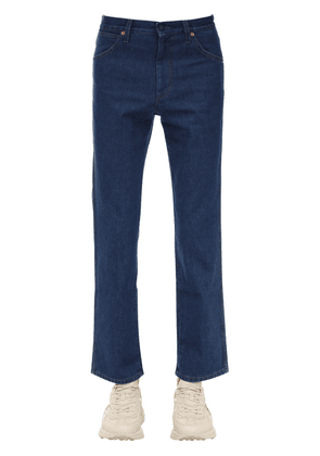 Stone Washed Cotton Denim Jeans W/patch
