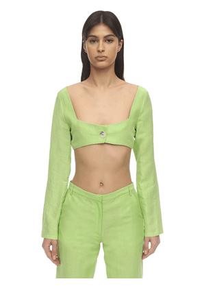 Oran Silk & Linen Crop Top