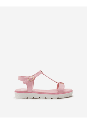 Dolce & Gabbana Collection - T-STRAP SANDALS IN PATENT LEATHER WITH DG RHINESTONES PINK