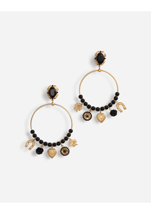 Dolce & Gabbana Bijoux - PENDANT HOOP EARRINGS WITH VOTIVE DECORATIONS AND SMALL ROSES BLACK/GOLD