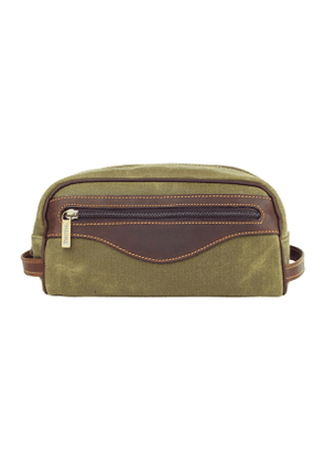 Lichen Waxed Canvas and Leather Excursion Washbag