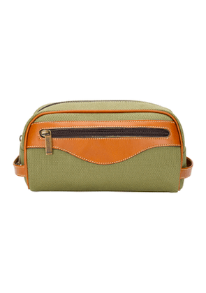 Olive Canvas and Leather Excursion Washbag