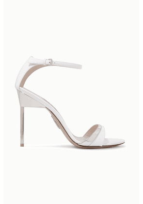 Miu Miu - Metallic-trimmed Patent-leather Sandals - White