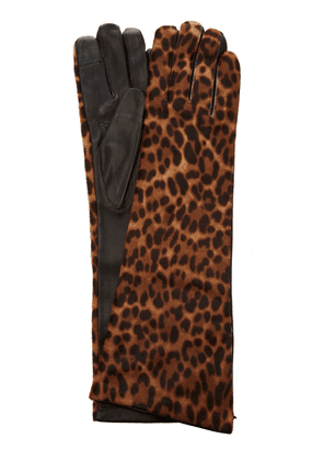 Maison Fabre Leopard-Print Calf-Hair Gloves