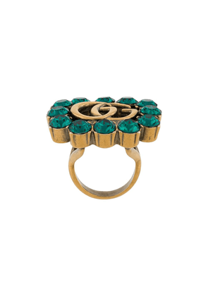 Gucci Double G crystal-embellished ring - GOLD