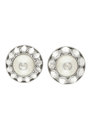 Gucci Silver Crystal and Pearl Interlocking G Earrings
