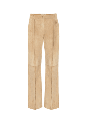 Mid-rise straight suede pants