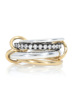 Janssen 18kt yellow gold and sterling silver linked rings with diamonds