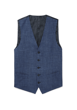Thom Sweeney - Blue Checked Wool, Silk And Linen-blend Waistcoat - Blue