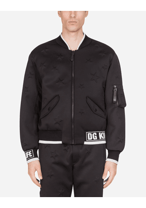 Dolce & Gabbana Jackets and Bombers - JACKET WITH DG LOGO AND THREE-DIMENSIONAL STARS BLACK