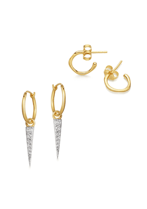 Gold Molten Spike Earring Set
