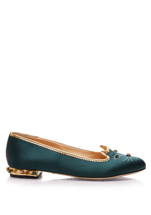 Charlotte Olympia Flats Women - BEJEWELLED KITTY BOTTLE GREEN & MULTICOLOR Satin 41