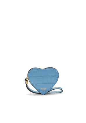 Mulberry Heart Coin Zip Purse in Pale Slate Croc Print