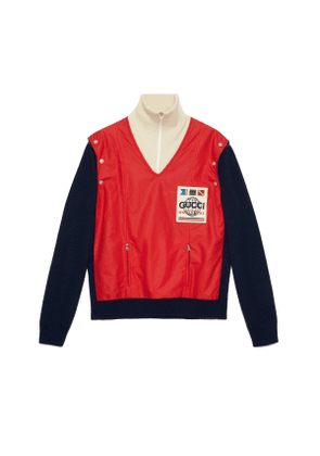Wool and nylon bomber jacket with patch