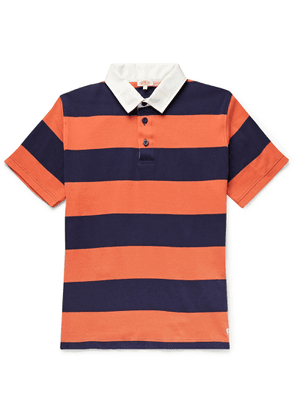 Armor Lux - Twill-trimmed Striped Cotton-jersey Rugby Shirt - Orange