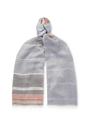 Begg & Co - Staffa Fringed Striped Cashmere And Silk-blend Scarf - Blue